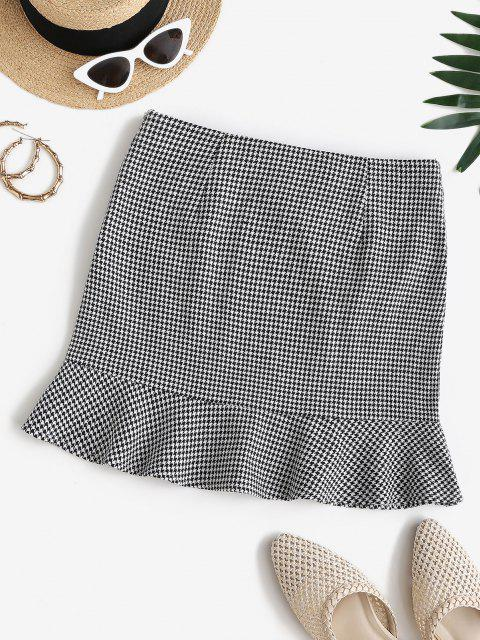 outfits ZAFUL High Rise Houndstooth Mini Fishtail Skirt - MULTI-A XL Mobile