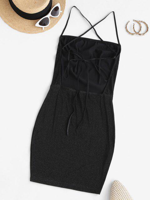 Glitter Kreuzes und Queres Chasubel Kleid mit Reißverschluss - Schwarz L Mobile