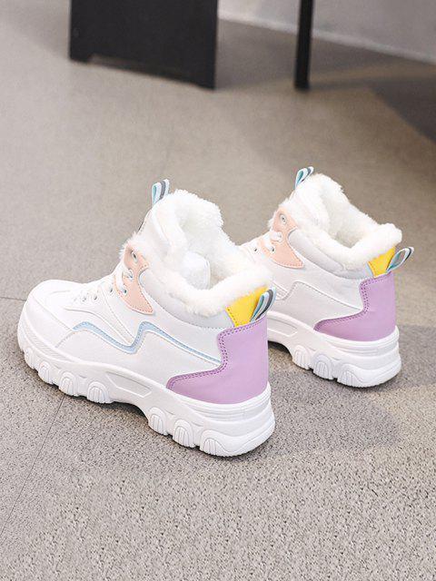 buy Colorblock High Top Fleece Sneakers - PURPLE EU 38 Mobile