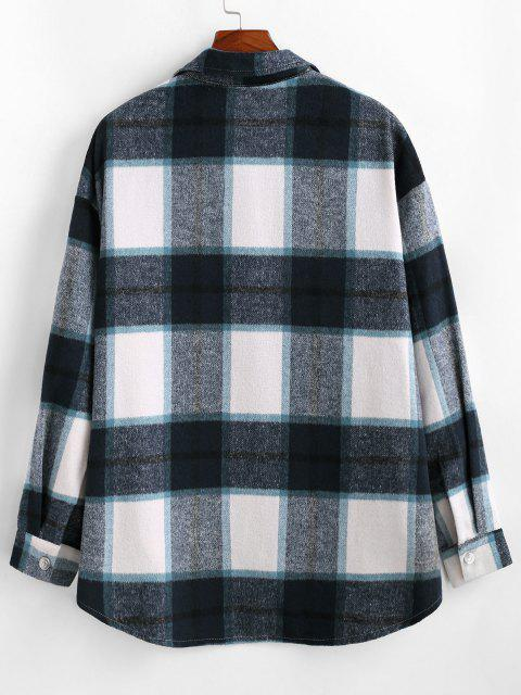trendy Plaid Pattern Flap Pocket Shirt Jacket - BLUE M Mobile