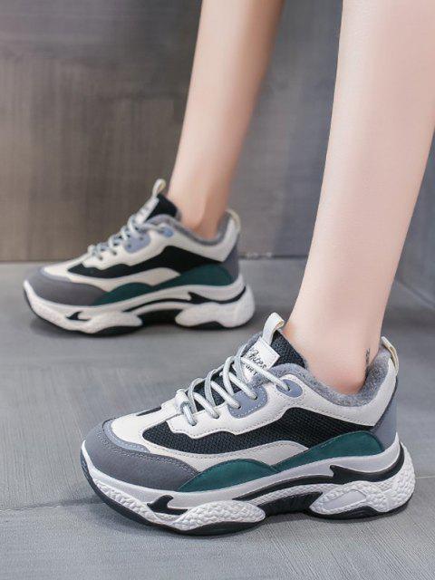 women Colorblock Mesh Panel Fleece Sneakers - GREEN EU 40 Mobile