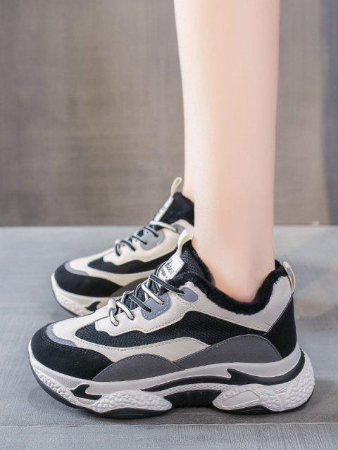 lady Colorblock Mesh Panel Fleece Sneakers - GRAY EU 39 Mobile