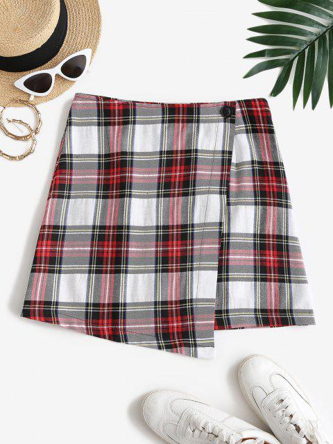 unique ZAFUL Overlap Plaid Mini A Line Skirt - MULTI-A L Mobile