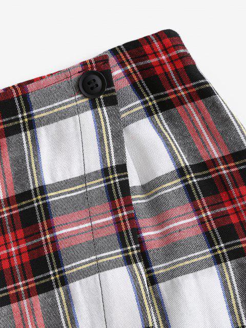 ladies ZAFUL Overlap Plaid Mini A Line Skirt - MULTI-A XL Mobile