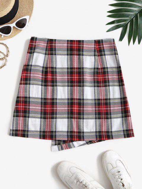 ZAFUL Overlap Plaid Mini A Line Skirt - متعددة-A M Mobile