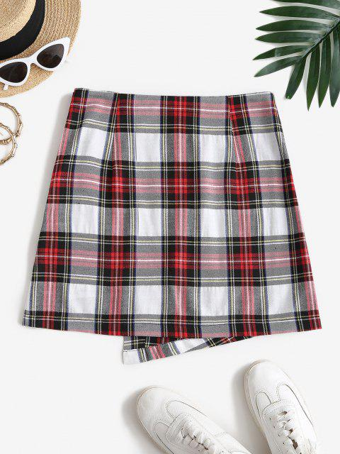 shop ZAFUL Overlap Plaid Mini A Line Skirt - MULTI-A S Mobile