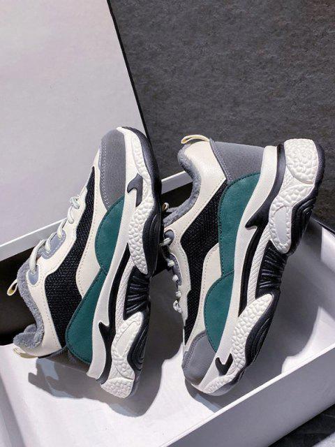 outfit Colorblock Mesh Panel Fleece Sneakers - GREEN EU 37 Mobile