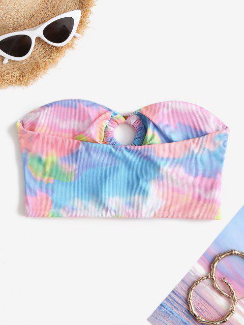 fancy ZAFUL Strapless Ribbed O-ring Tie Dye Bikini Top - LIGHT PINK S Mobile