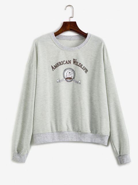 shops Slogan Eagle Drop Shoulder Oversized Sweatshirt - GRAY L Mobile