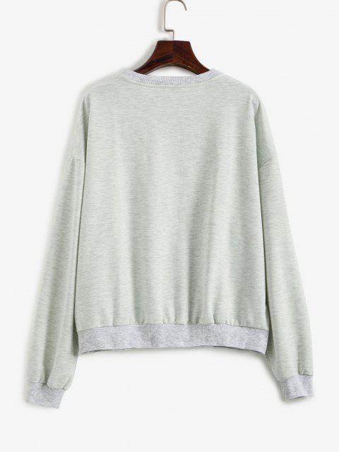 latest Slogan Eagle Drop Shoulder Oversized Sweatshirt - GRAY M Mobile