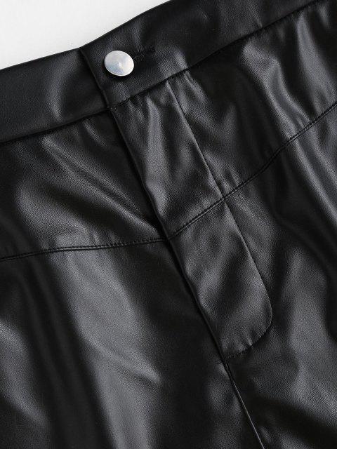 sale Faux Leather Raw Hem Mini Skirt - BLACK L Mobile