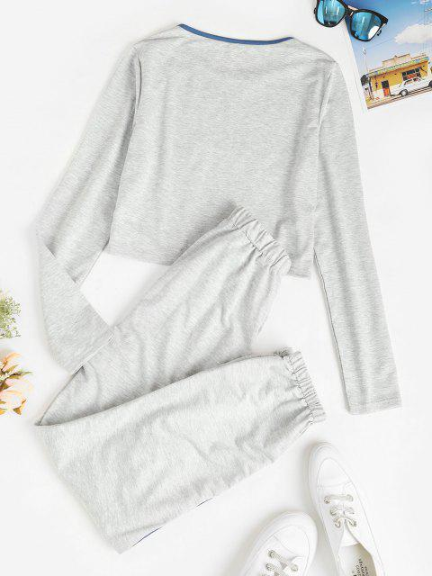 sale Letter Heather Bowknot Contrast Binding Joggers Set - GRAY L Mobile