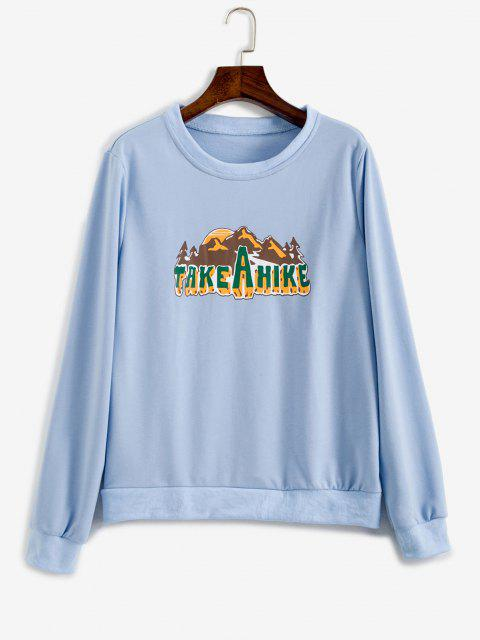 Take A Hike Graphic Pullover Sweatshirt - أزرق فاتح M Mobile