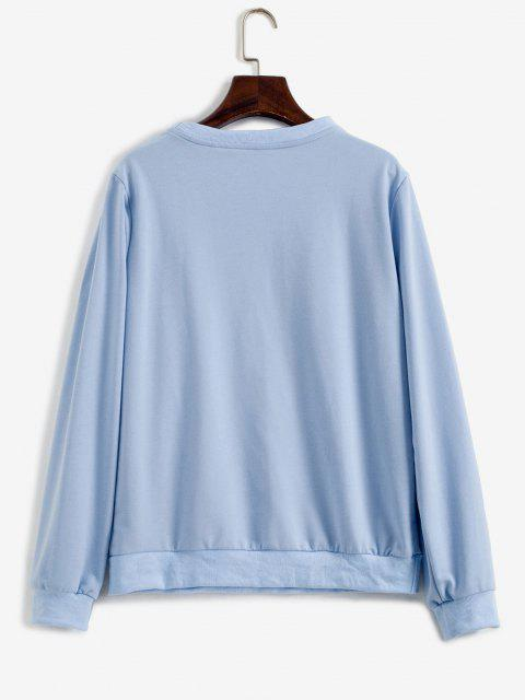 women Take A Hike Graphic Pullover Sweatshirt - LIGHT BLUE S Mobile
