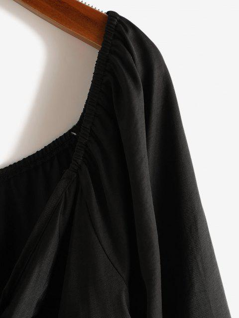 buy Plus Size Tied Raglan Sleeve Plunging Blouse - BLACK 1XL Mobile