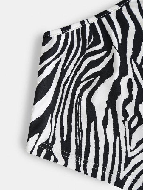 Top Corto Stampato in Pelle di Zebra con Halter di ZAFUL - Nero M Mobile