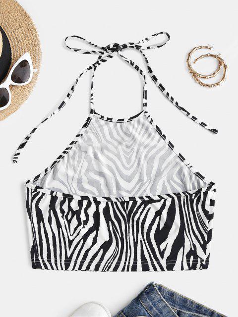 ZAFUL Zebra Print Halter Crop Top - أسود S Mobile