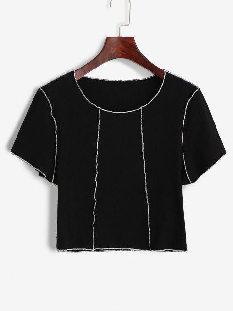 outfits ZAFUL Ribbed Topstitch Slim Crop Tee - BLACK S Mobile
