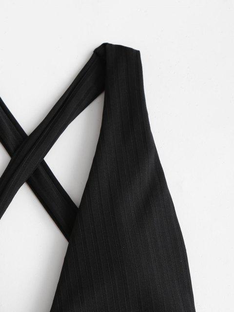 sale ZAFUL Wide Ribbed Crisscross Back Drop Armhole One-piece Swimsuit - BLACK M Mobile