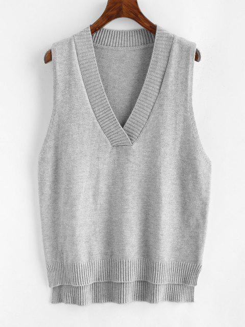 women's V Neck Slit High Low Sweater Vest - GRAY ONE SIZE Mobile