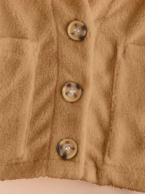 fancy ZAFUL Faux Fur Shearling Pocket Short Coat - CAMEL BROWN S Mobile