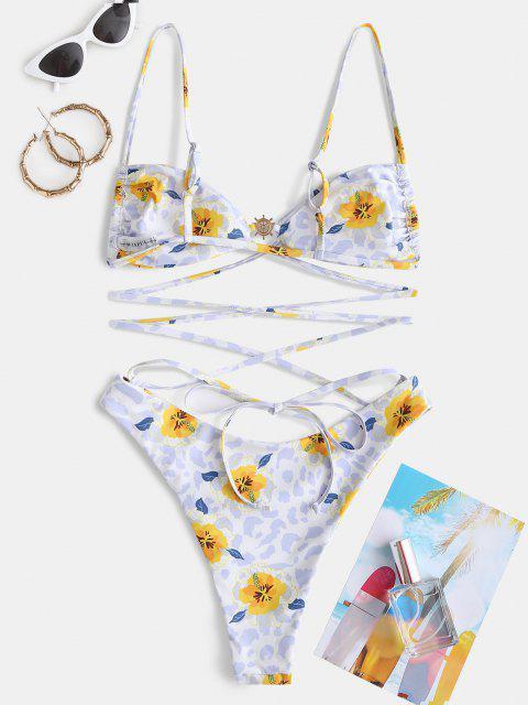 women ZAFUL Floral Mix Leopard Wrap-tie High Cut One-piece Swimsuit - YELLOW L Mobile