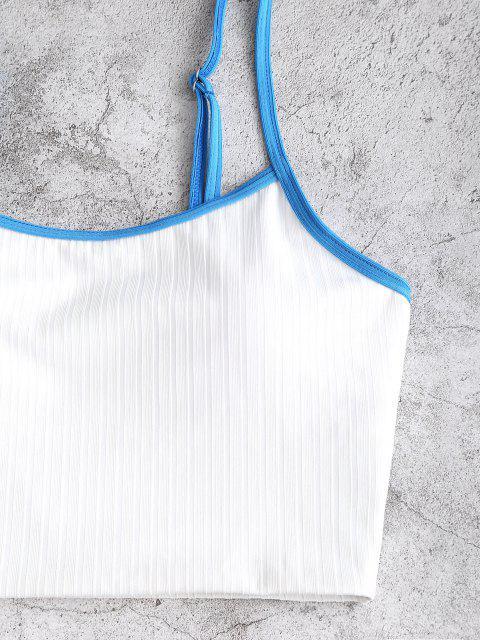ZAFUL Weite Gerippte Tankini Badebekleidung mit Hohem Schnitt - Weiß S Mobile