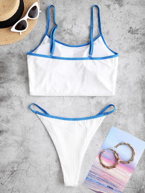 ZAFUL Costume da Bagno Tankini a Contrasto a Costine con Taglio Alto e Bordi a Contrasto - Bianca XXL Mobile