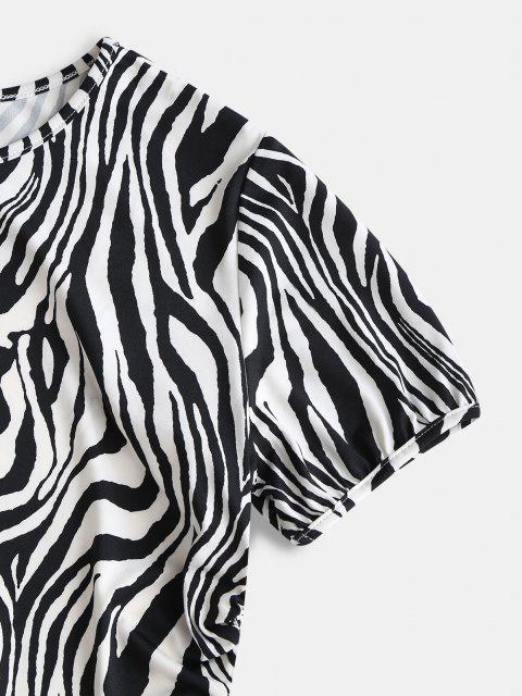 best ZAFUL Back Tie Zebra Print Open Back Tee - BLACK L Mobile