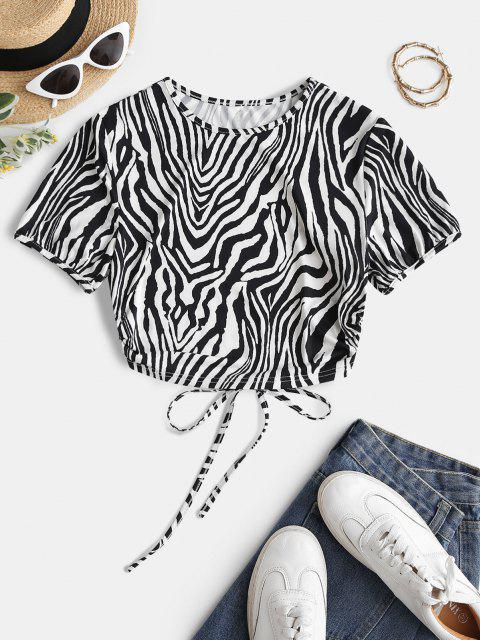 best ZAFUL Back Tie Zebra Print Open Back Tee - BLACK L Mobile