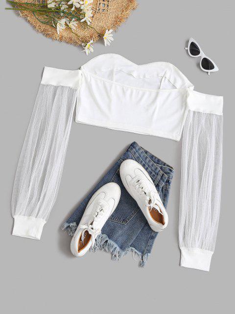 Maschen Schulterfreies Crop Top - Weiß L Mobile
