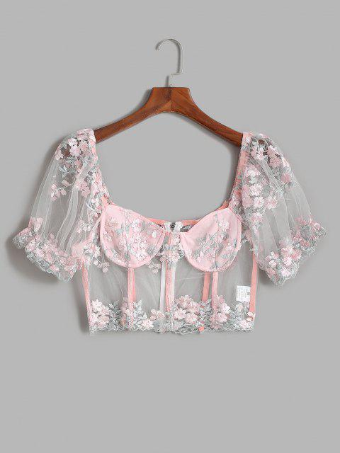 hot Mesh Sheer Embroidered Puff Sleeve Milkmaid Top - LIGHT PINK M Mobile