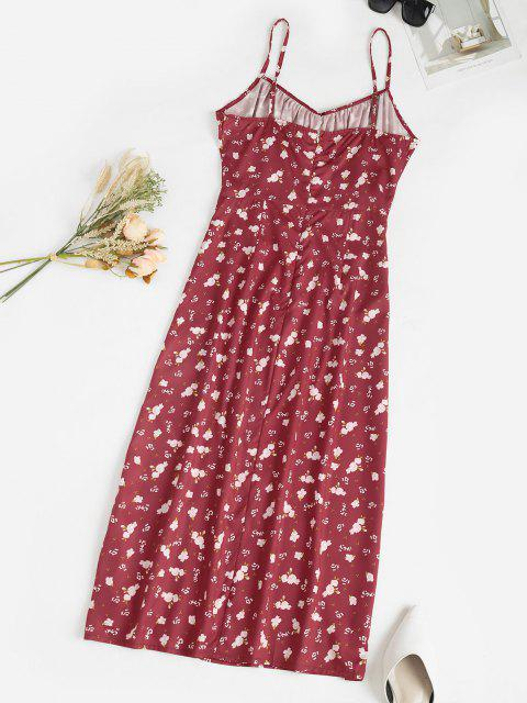 women's Spaghetti Strap Ditsy Print Slit Midaxi Bustier Dress - DEEP RED S Mobile