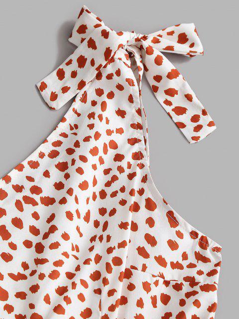 shops Leopard One Shoulder Belted Tiered Dress - WHITE L Mobile