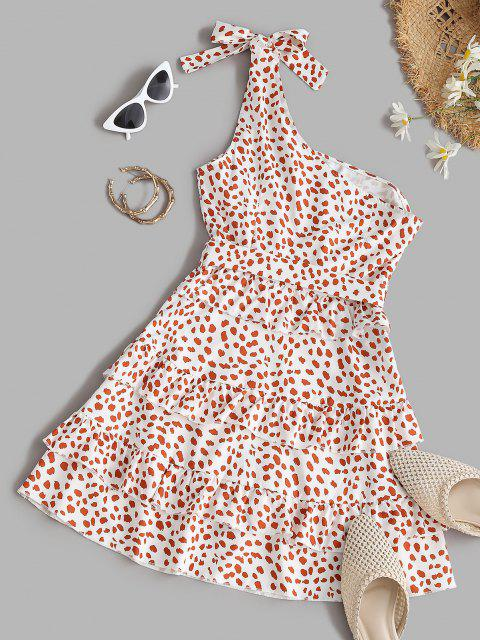 women's Leopard One Shoulder Belted Tiered Dress - WHITE S Mobile