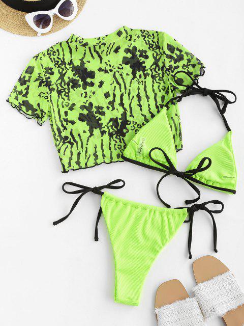 unique ZAFUL Contrast Strap Ribbed Leopard Mesh Three Piece String Bikini Swimwear - GREEN S Mobile