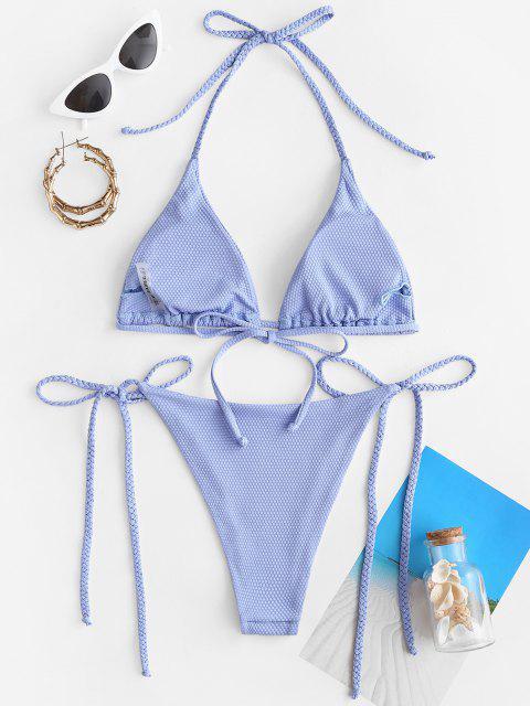 ZAFUL Costume da Bagno Bikini Annodato Intrecciato - Azzurro S Mobile