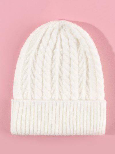 Twist Turn Up Edge Knitted Hat - Milk White