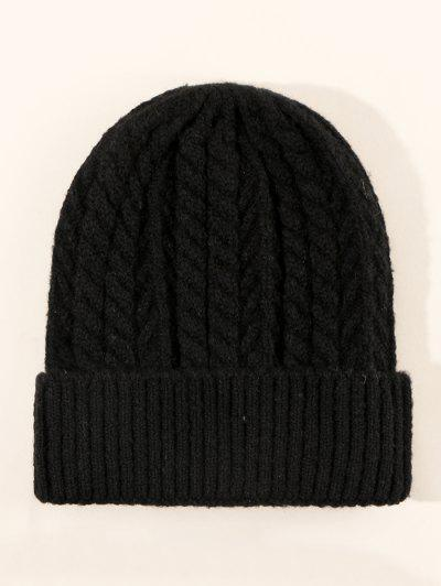 Twist Turn Up Edge Knitted Hat - Black