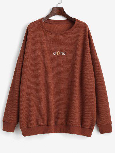 Letter Graphic Embroidered Drop Shoulder Sweatshirt - Brown S