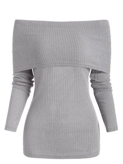 Foldover Off Shoulder Ribbed Slim Sweater - Light Gray M
