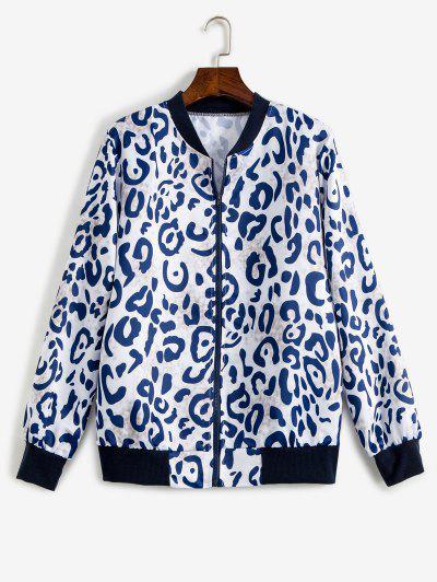 Leopard Ribbed Hem Animal Print Zipper Jacket - Multi L