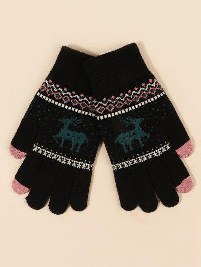 Christmas Elk Pattern Knitted Gloves - Black