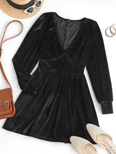 Long Sleeve V Neck Velvet Mini Dress - Black M