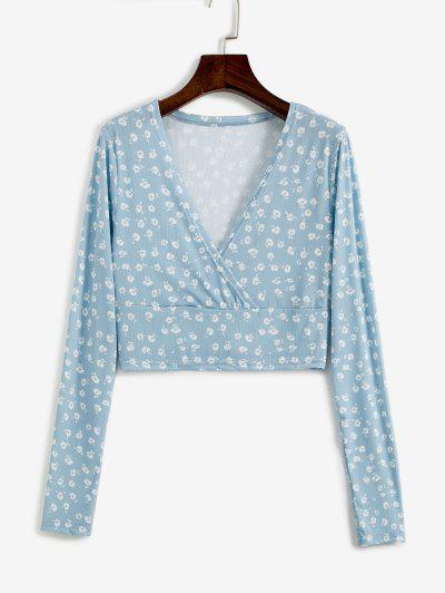 Ditsy Floral Ribbed Surplice Cropped Top - Light Blue M
