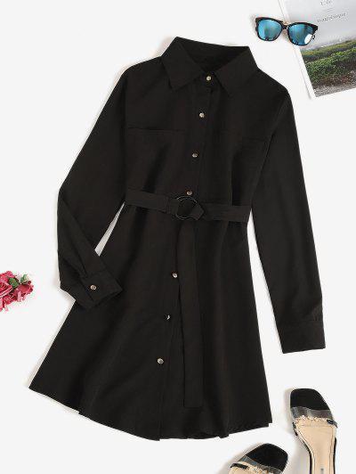Belted Pocket Shirt Dress