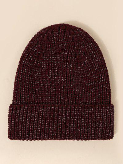 Reflective Turn Up Edge Knitted Hat - Red Wine