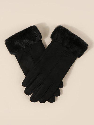 Faux Fur Wrist Suede Gloves - Black