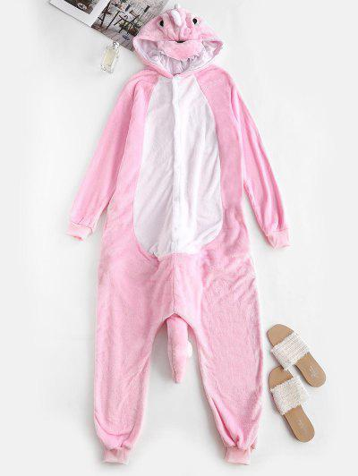Button Front Fleece Dinosaur Onesie Pajamas - Light Pink S