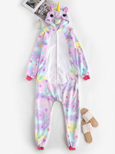 Fleece Star Tie Dye Unicorn Onesie Pajamas - Light Purple S